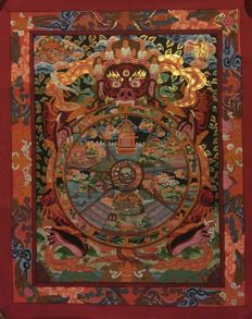Hand painted Thangka painting, Representing Wheel of Life - Tibet/Nepal - late 20th century