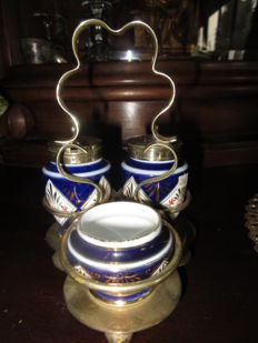 20th century Mustard Pepper Salt Set EPNS Imari England