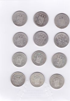 The Netherlands – ½ guilder 1848/1930 Willem II, III and Wilhelmina (12 different coins) – silver