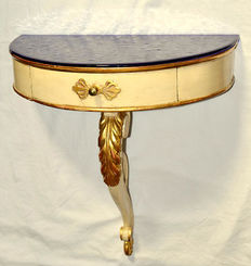 Original vintage one leg console, in painted and gold leaf gilded solid wood, with a drawer and a deep blue glass top surface