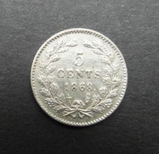 The Netherlands – 5 cents 1868 Willem III – silver