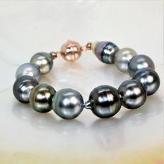 Bracelet with Tahitian baroque pearls, magnetic clasp in 925 silver – # No Reserve Price #