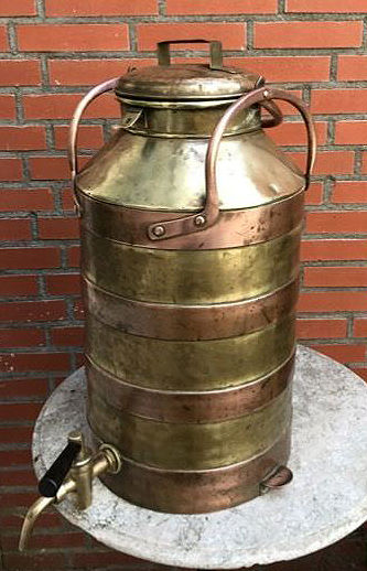 Large heavy copper / brass milk churn - the Netherlands - first half of 20th century