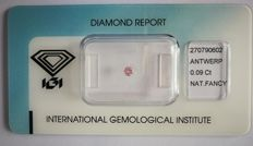 Natural Fancy Intense Pink Diamond 0.09 ct  with IGI cert