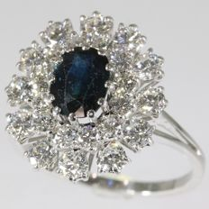 Sapphire and diamond white gold cocktail ring from the seventies