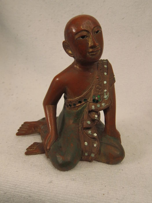 Sculpture of wood Buddhist monk, red lacquered - Burma - mid 20th century