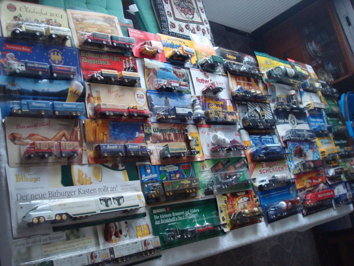 Collection - brewery trucks, advertising trucks, some vintage trucks and special editions, in original packaging, 110 parts - 1997/2006