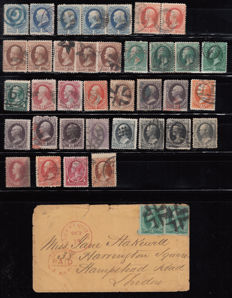 United States of America, 1870–1882 – lot of stamps with different cancellations.