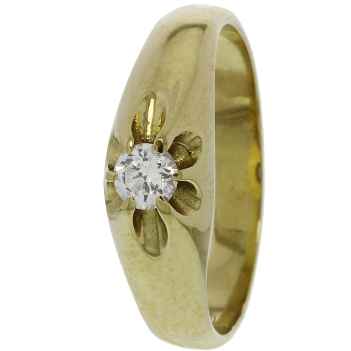 14 kt Gold men´s ring with zirconia - size 20