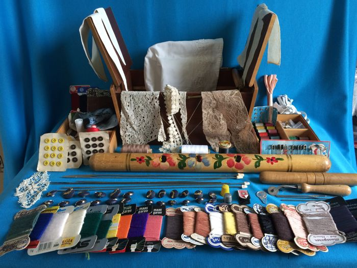 Wooden sewing box completely filled with old sewing, knitting and crochet amenities, 2nd half of 20th century