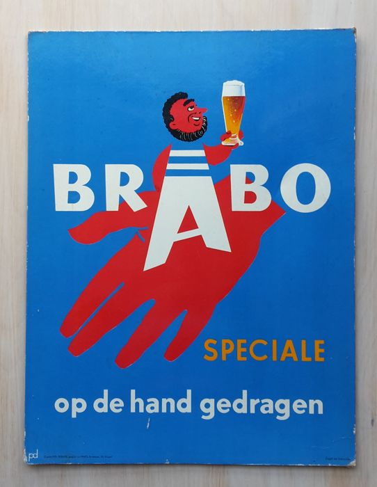 Advertising sign of beer Speciale BRABO - approx 1950