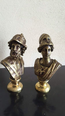 Two bronze statues of mythological gods Ajax and Minerva, circa 1960