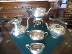 Art Deco Tea and Coffee Set Fine Silver plated 5 pieces with heating silver plated lamp by Sheffield My Lady, England 1940/50