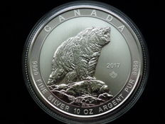 Royal Canadian Mint - 50 Dollar Silbermünze - 10 oz Kanada Grizzly 2017 999 Silber