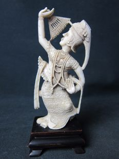 Ivory statue of a dancer - Burma/Cambodia - approx. 1920-1930