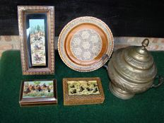 Persian Khatam miniatures and silver plated jar - Iran - second half and mid 20th century