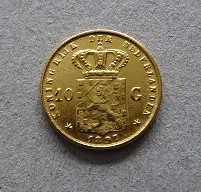 The Netherlands – 10 Guilder coin 1897 (restrike) – Wilhelmina – gold