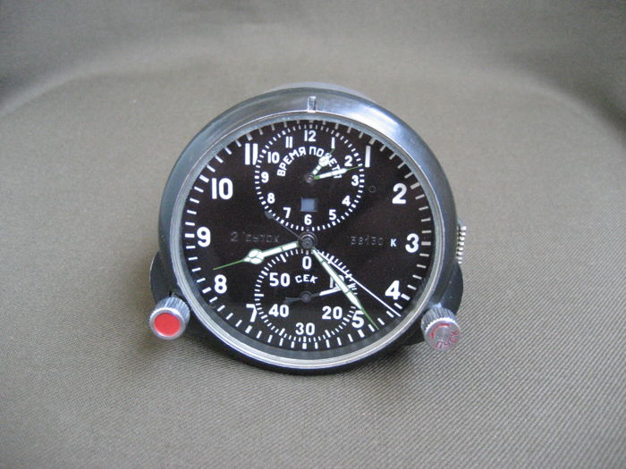 Poljot Chronograph ( AChS-1 ) - Original Russian military aviation clock for the MiG-25 supersonic fighter jet (СССР/USSR) - 1970s.