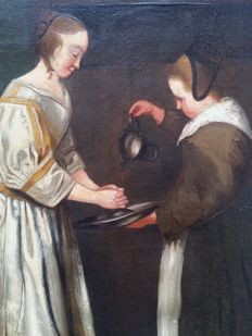 Unknown (19/20th century) - After Gerard ter Borch. Dames en hond.