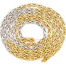 14 kt bicolour gold Byzantine chain necklace – length: 90.3 cm