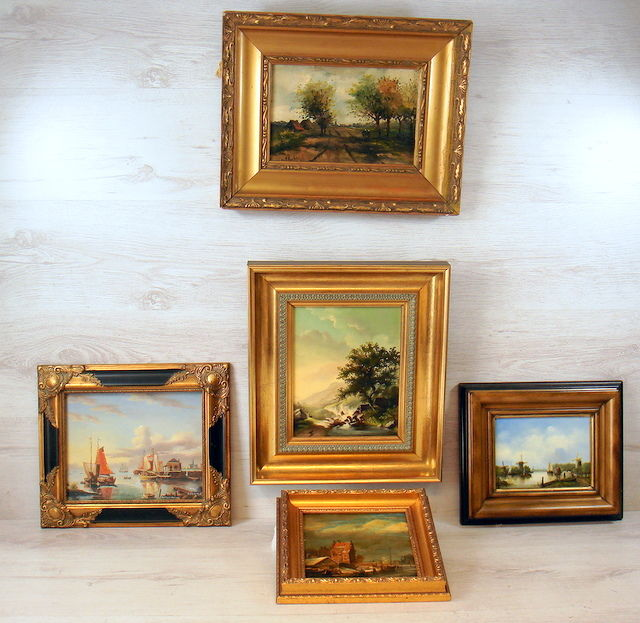 Five oil paintings in decorative frame