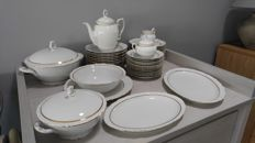 KAHLA tableware; white with a decorative gold rim and pieces of a coffee set