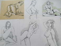 Original work; 6 drawings by Jean-Bernard Auboin - 2016