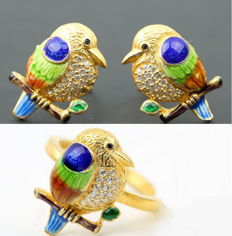Great handwork,Enamel, 24 k gold-plated sterling silver  ring earrings,Weight : approx :8 g (2)