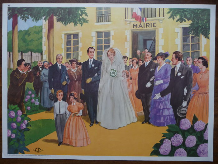 3 old double-sided French school posters with a homely and family scenes.