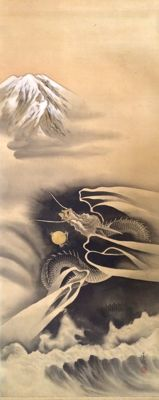 'Dragon flying over Mt. Fuji' - Impressive handpainted scroll painting on cloth - Japan - ca. 1920