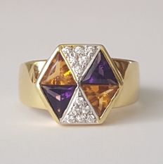 Ring in 18 kt gold with citrines, amethysts and white sapphires – Size: 19.4 mm, 21/61 (EU)