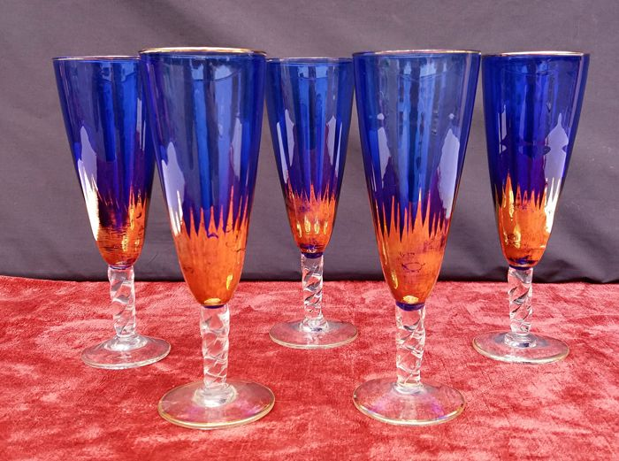 Murano - five wine goblets in cobalt blue and gold