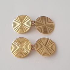 Round cufflinks in 18 kt gold – Size: 15 mm x 15 mm