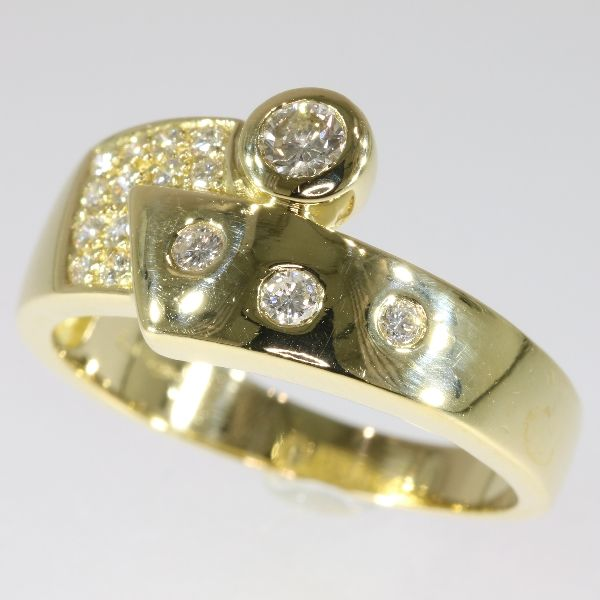 18k Yellow gold modern design diamond engagement ring - size 63
