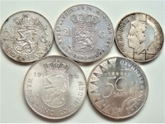 The Netherlands – 2½ guilder 1874 and 1959, 10 guilder 1973 and 1994 + 50 guilder 1987 (5 pieces in total) – silver.