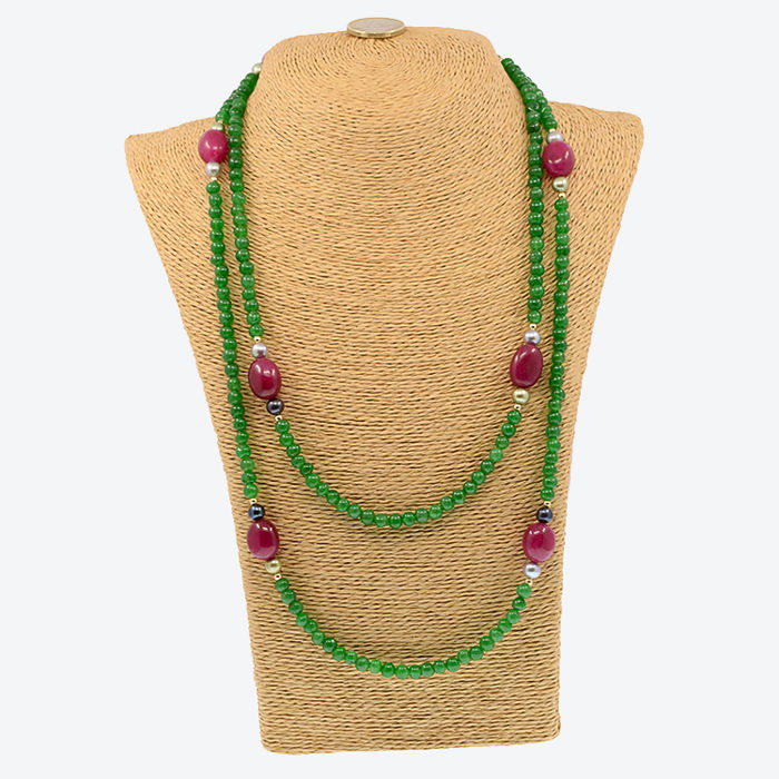 gold necklace with emeralds, rubies and cultured pearls - Length: 128 cm; with 18k gold parts