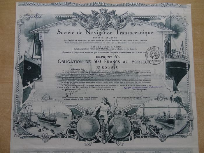 France: Societe de Navigation Transoceanique. Obligation de 500 Francs au Porteur Paris 1920. DEKO