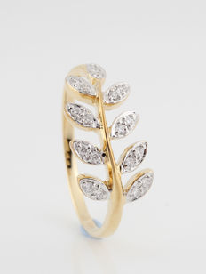 "14kt geelgoud diamanten ring 0.17ct / 18 ronde brillianten / G-H-VVS2-VS1 / 2.50gr & 57 ringmaat ""NIEUW"""