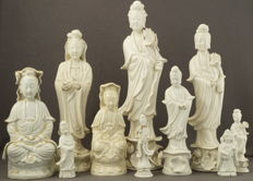 Collection of 10 Blanc de Chine sculptures from Guanyin – China – first and 2nd half 20th century
