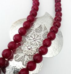 Rubellite stones Necklace with Silver 925 Pendant filigree hand-crafted in a heart shape