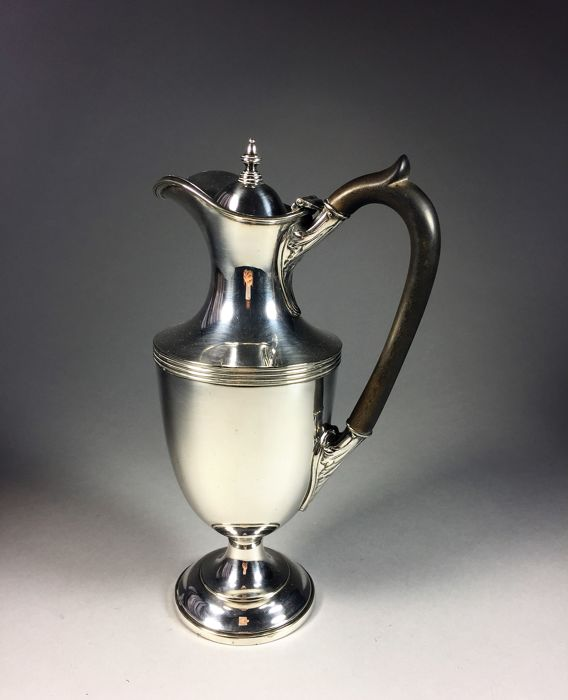Victorian silver plated water jug with horn handle, England, ca. 1900