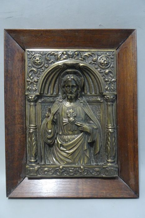 Yellow copper Jesus in wooden frame - mid 20th century