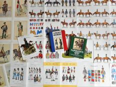 Lot - Napoleonic uniform history - 2 books and 18 prints