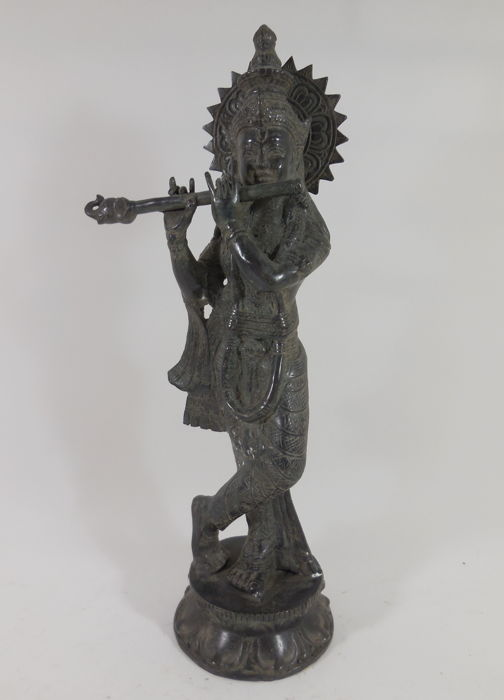 Bronze sculpture of Krishna with special flute – India – 21st century