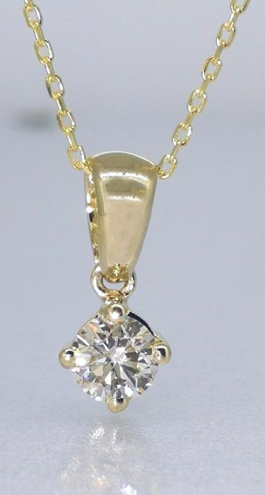 14 kt Yellow gold solitaire pendant with one 0.35 ct brilliant cut diamond *** no reserve price ***
