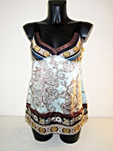Hale Bob - Designer soft blue bronze-brown beautiful print silk tunic