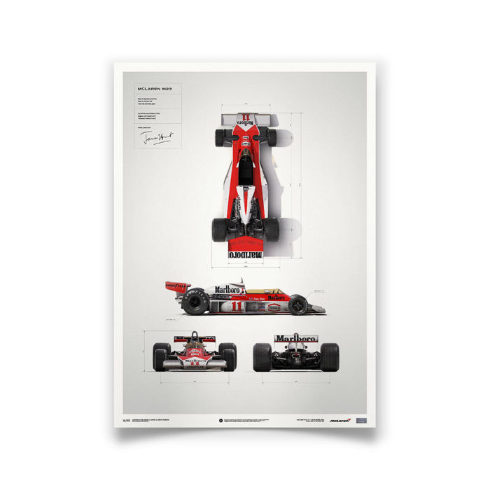 McLaren and James Hunt Collection - fine art print - McLaren M23 Blueprint - 1973 - 70CM X 50CM
