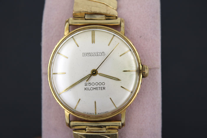 Bussing – men's wristwatch – gold plated approx. 1970 25000 km Brummi journey