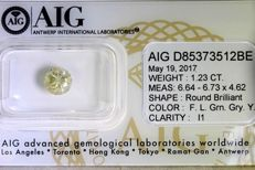 NATURAL DIAMOND – 1.23 ct – Brilliant cut – I1 fancy light greenish greyish yellow