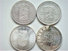 The Netherlands – 2½ guilder 1872 and 1932, Willem III and Wilhelmina + 10 guilder 1973 and 50 guilder 1987 Juliana and Beaatrix (4 pieces) – silver